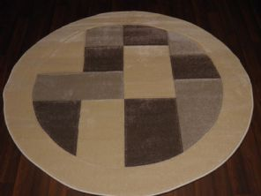 MODERN 140X140CM CIRCLE RUGS WOVEN BACK HAND CARVED BLOCKS CREAM/BEIGES